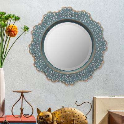 12.5 in. x 12.5 in. Blue Metal Lace Wall Mirror