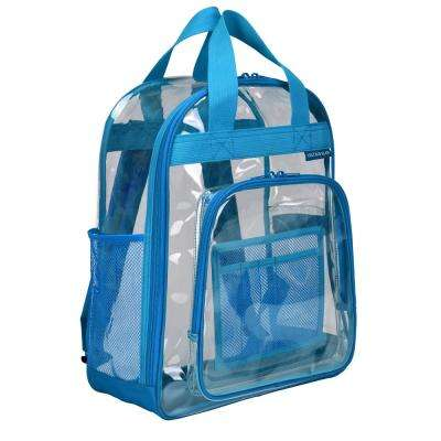 17 in. Blue Clear School Backpack/Travel Daypack with Top Handle Straps and Multiple Pockets