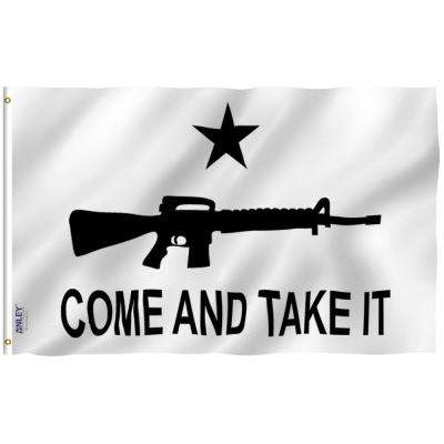 Fly Breeze 3 ft. x 5 ft. Polyester M-4 Gonzales Come and Take It Flag 2-Sided Banner with Brass Grommets, Canvas Header