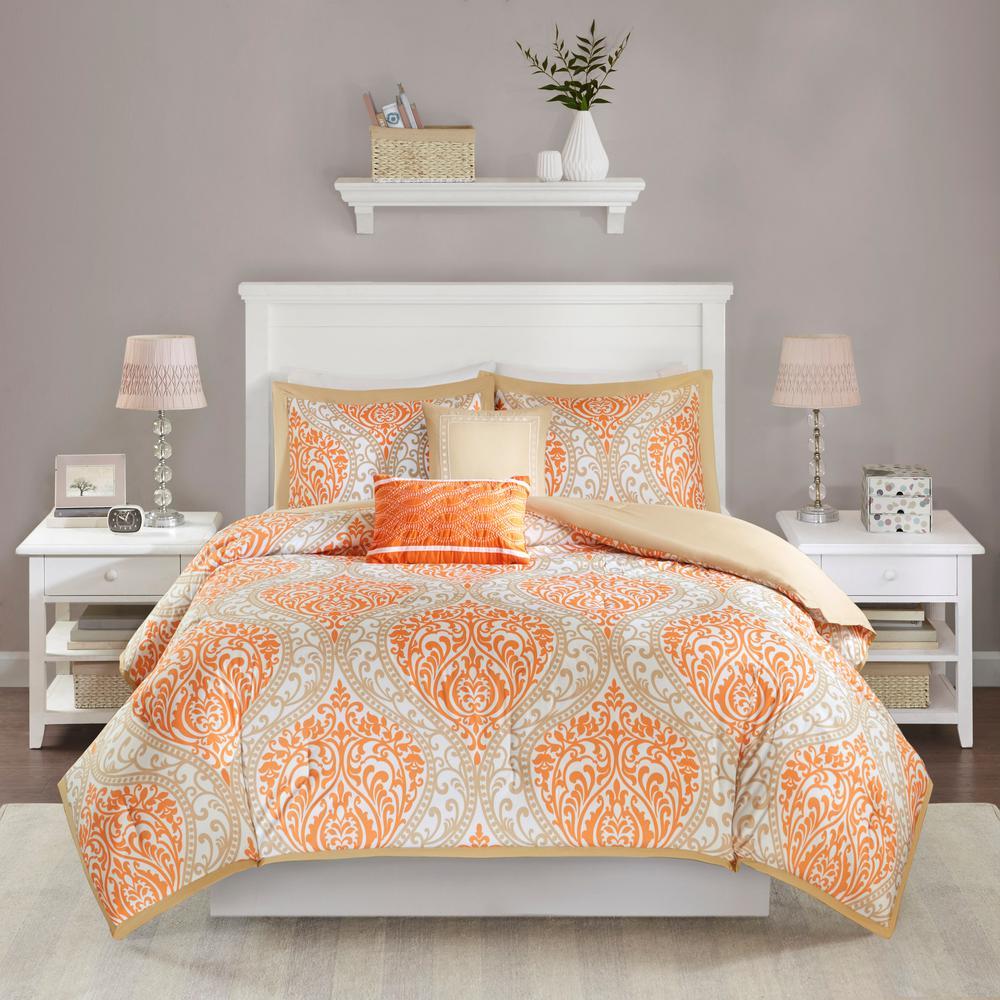 Sabrina 5-Piece Orange King Comforter Set