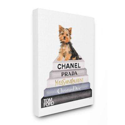 "30 in. x 40 in. "" Watercolor High Fashion Bookstack Yorkie Dog"" by Artist Amanda Greenwood Canvas Wall Art"