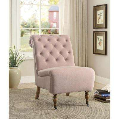 Genial Cora Washed Pink Linen Roll Back Side Chair