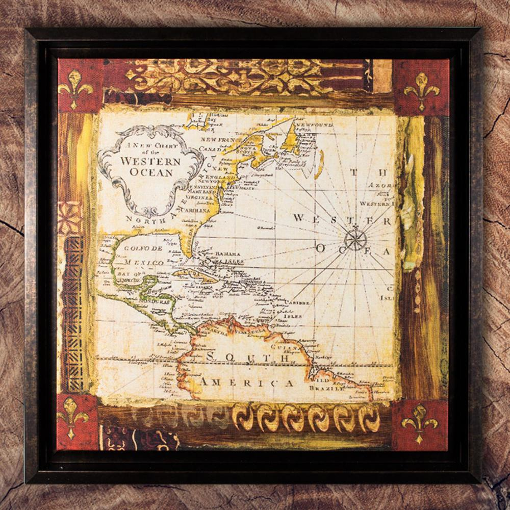 Crystal Art Gallery Old World Map Framed Painting Print On Canvas