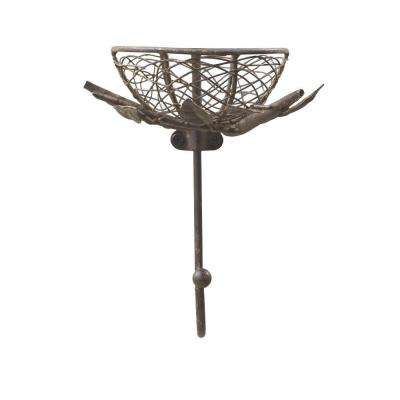 4 in. D Brown Metal Nest with Hook Hanger