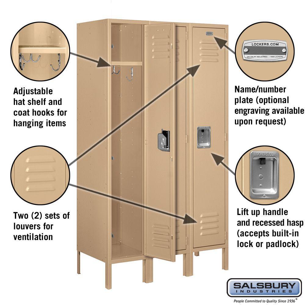 Salsbury Industries 61000 Series 36 In W X 66 In H X 15 In D Single Tier Metal Locker Unassembled In Tan 61355tn U The Home Depot