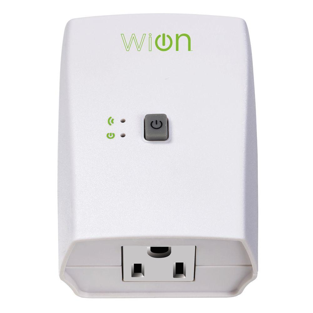 Woods 15-Amp WiOn Indoor Plug-In Wi-Fi Wireless Switch Appliance Single-Outlet Programmable Control Timer, White