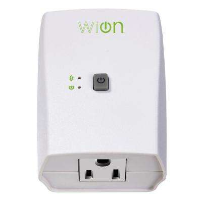 15-Amp WiOn Indoor Plug-In Wi-Fi Wireless Switch Appliance Single-Outlet Programmable Control Timer, White