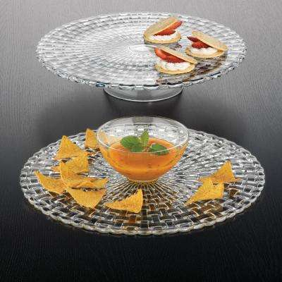 Bossa Nova 12.6 in. Crystal Decorative Cake Plate/Chip and Dip