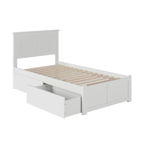 Nantucket Twin Platform Bed with Flat Panel Foot Board and 2 Urban Bed Drawers in White