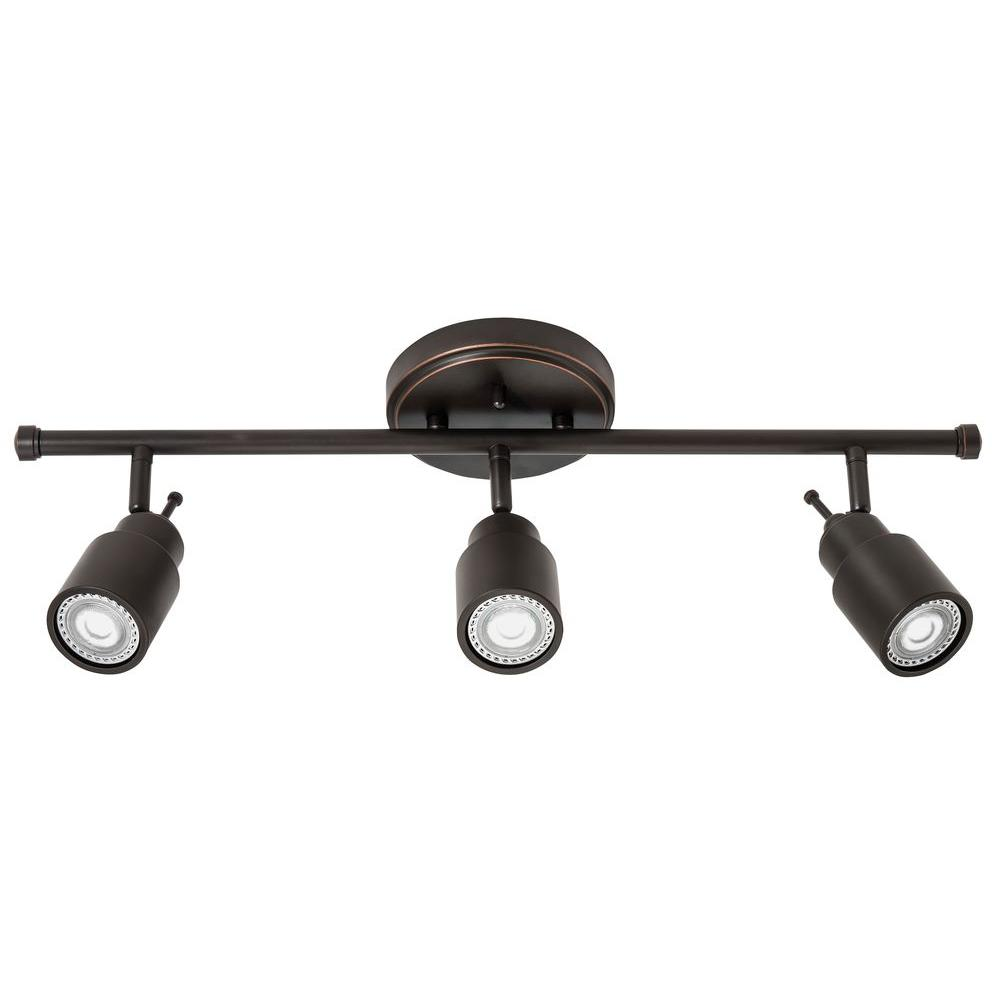 Bronze track lighting lighting the home depot 2 ft 3 light oil rubbed bronze led track aloadofball Choice Image
