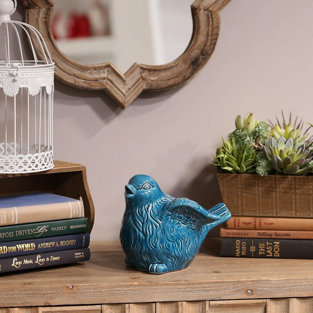 7 in. H Bird Decorative Figurine in Turquoise Gloss Finish