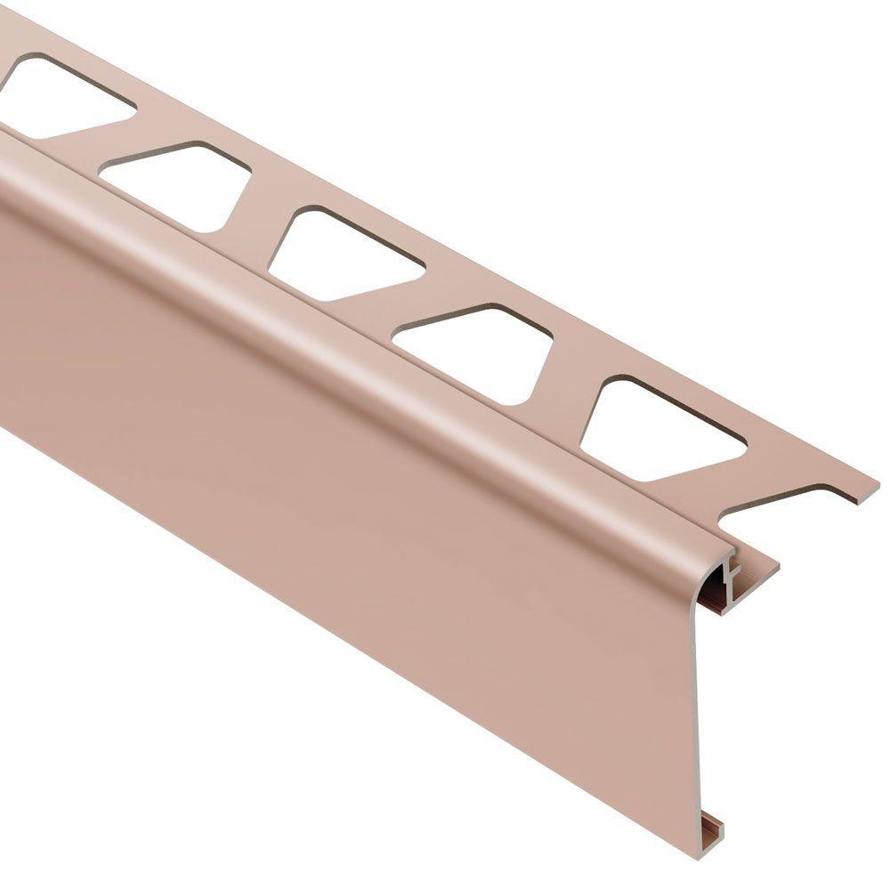 Rondec-Step Satin Copper Anodized Aluminum 1/2 in. x 8 ft. 2-1/2 in. Metal Tile Edging Trim
