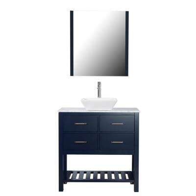 Santa Monica 36 in. W x 18 in. D Bath Vanity in Navy with Marble Vanity Top in White with White Basin and Mirror