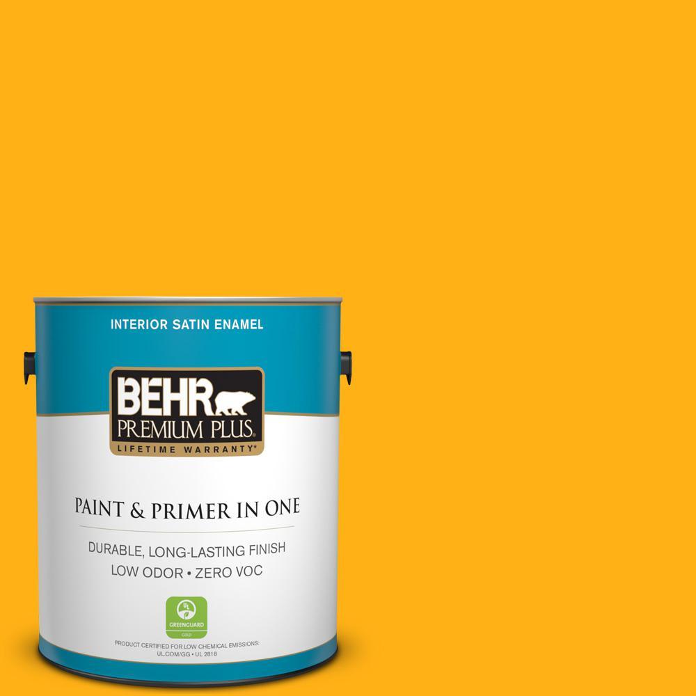 BEHR Premium Plus 1 gal. #S-G-340 Sun Ray Satin Enamel Zero VOC Interior Paint and Primer in One
