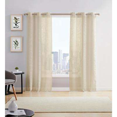 Hannah 38 in. W x 84 in. L Semi Sheer Grommet Window Panel Pair in Taupe (2-Pack)