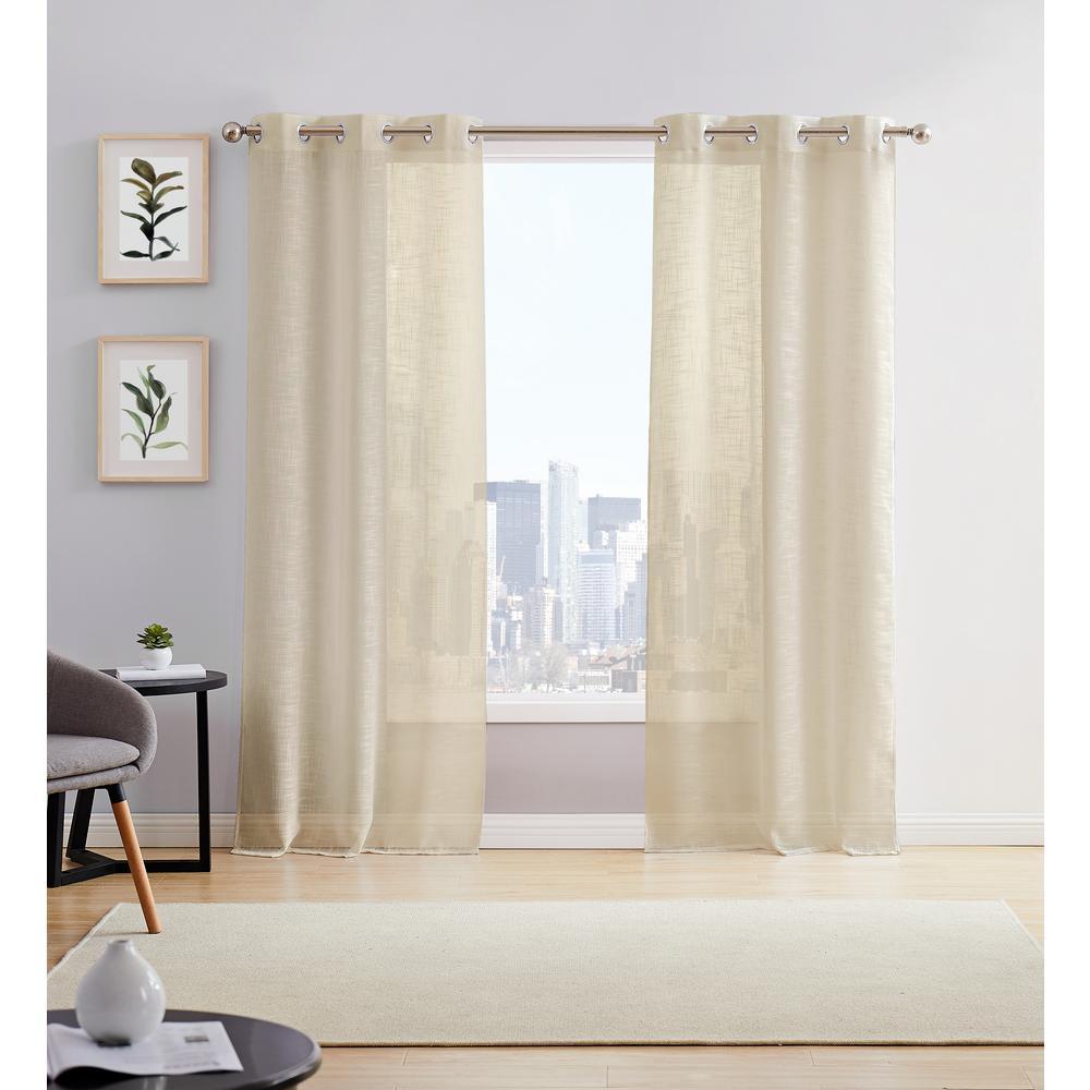 Hannah 38 in. W x 84 in. L Semi Sheer Grommet Window Panel Pair in Taupe (2-Pack)