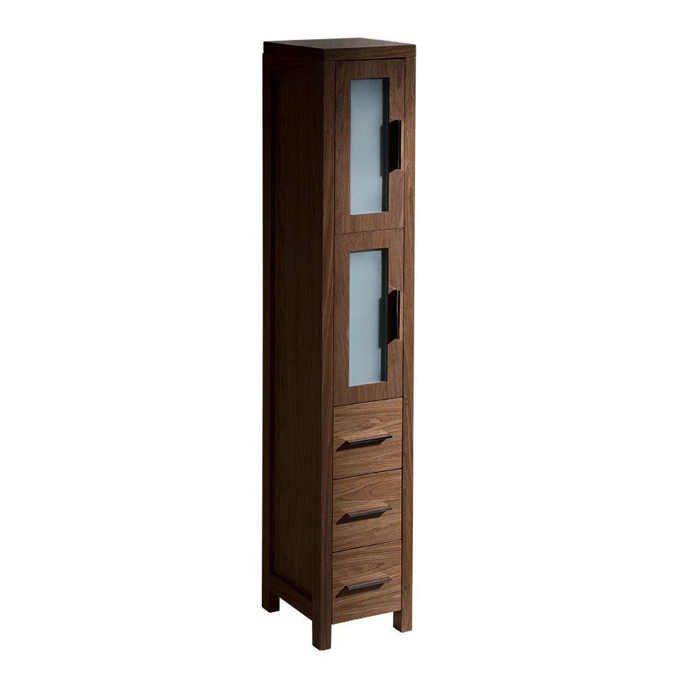 Fresca Torino 12 in. W Tall Linen Storage Cabinet in Walnut Brown