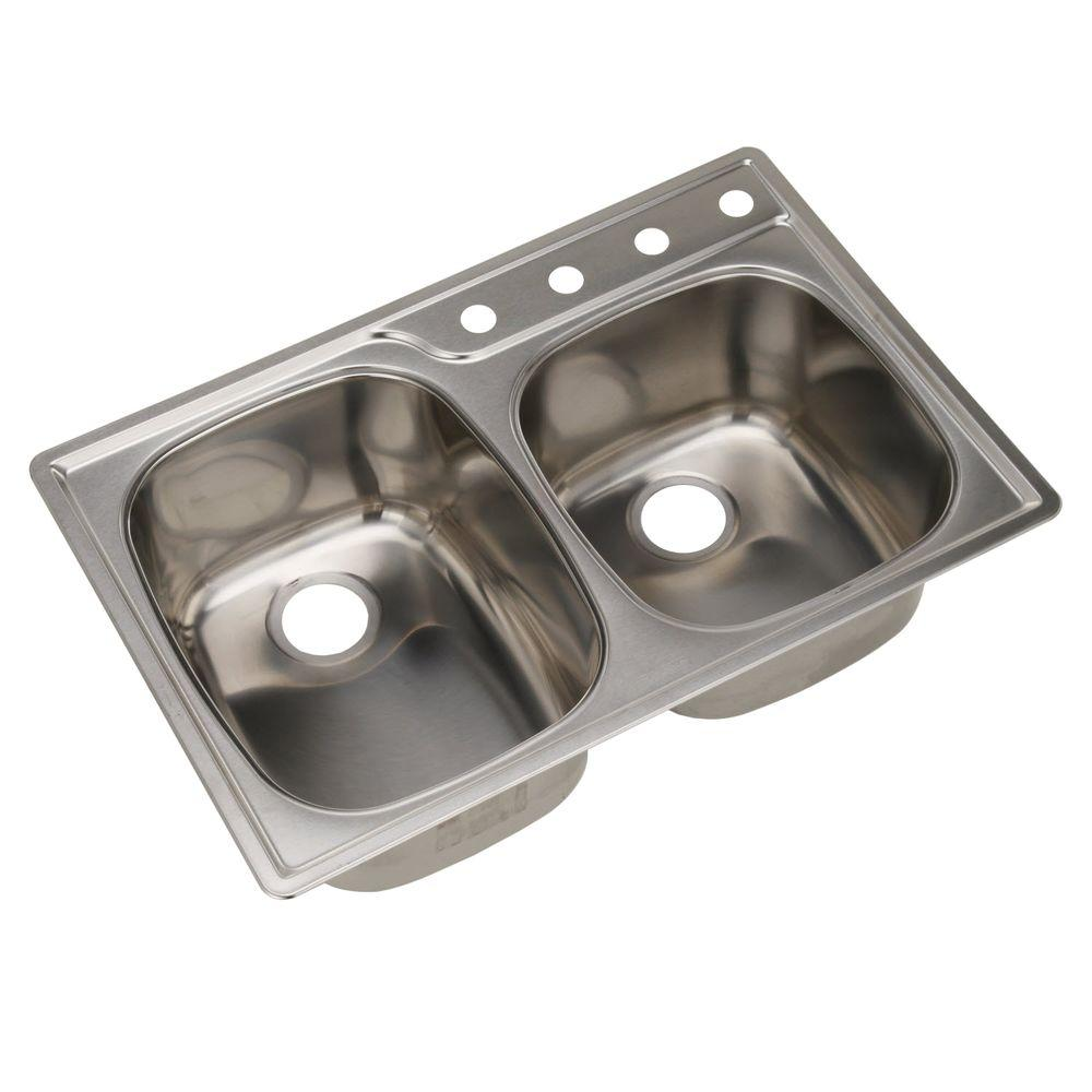FrankeUSA Drop-In Stainless Steel 33x22x9.5 4-Hole 18-Gauge Double Basin Kitchen Sink
