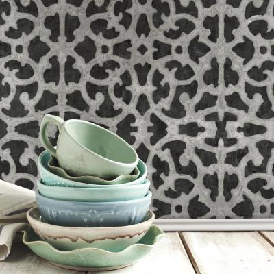 28.29 sq. ft. Black and White Scroll Gate Peel and Stick Wallpaper