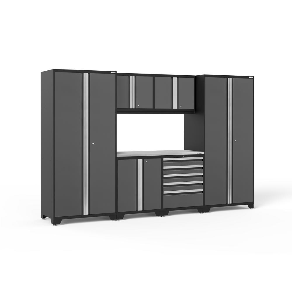 Pro Series 128 in. W x 85.25 in. H x 24 in. D 18-Gauge Steel Garage Cabinet Set in Gray (7-Piece)