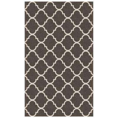 Washable Trellis Gate Rich Grey 3 ft. x 5 ft. Stain Resistant Area Rug