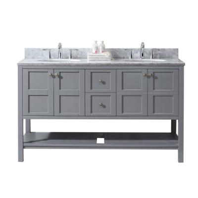 Virtu USA Winterfell 60 in. W Double Bath Vanity in Grey with Marble Vanity Top and Round Basin with Faucet