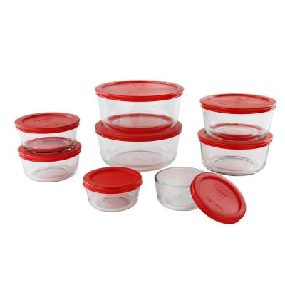 Simply Store 16-Piece Round Glass Storage Set with Red Lids