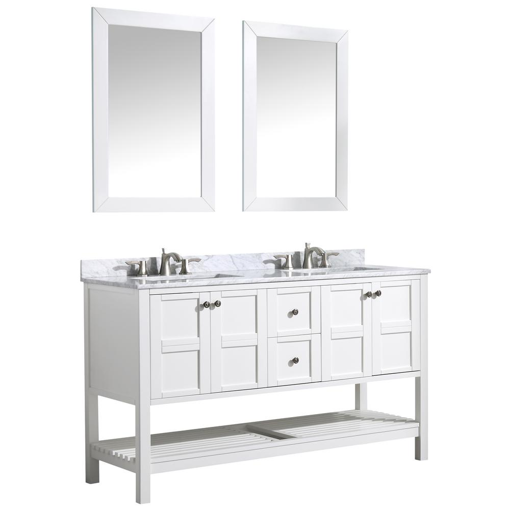 ANZZI Montaigne 60 in. W x 35.75 in. H Bath Vanity in White with Marble Vanity Top in Carrara White w/ White Basin and Mirror