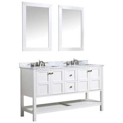 Montaigne 60 in. W x 35 in. H Bath Vanity in White with Marble Vanity Top in Carrara White with White Basin and Mirror