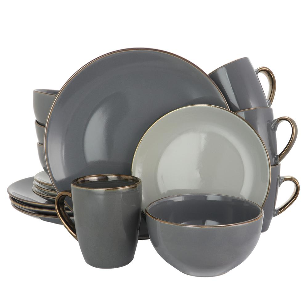 Elama Elama Tahitian Grand 16-Piece Gray Dinnerware Set