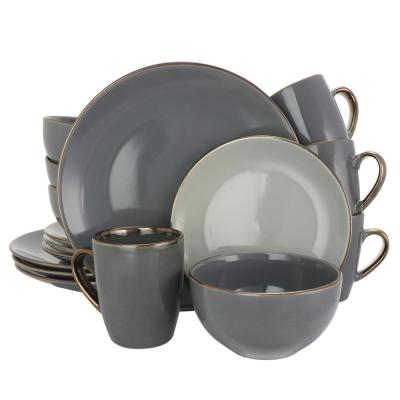 Tahitian Grand 16-Piece Gray Dinnerware Set