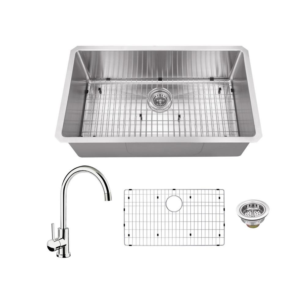 IPT Sink Company All-in-One Undermount Stainless Steel 32 in. Single Bowl Kitchen Sink with Polished Chrome Kitchen Faucet
