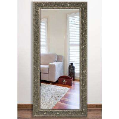 34 in. x 67.5 in. Opulent Silver Beveled Full Body Mirror