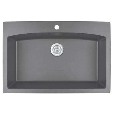 Drop-In Quartz Composite 33 in. 1-Hole Single Bowl Kitchen Sink in Grey
