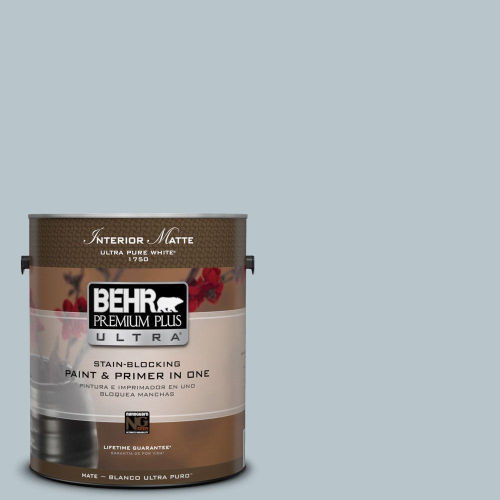 BEHR Premium Plus Ultra 1 gal. #ICC-46 Soft Denim Flat/Matte Interior Paint