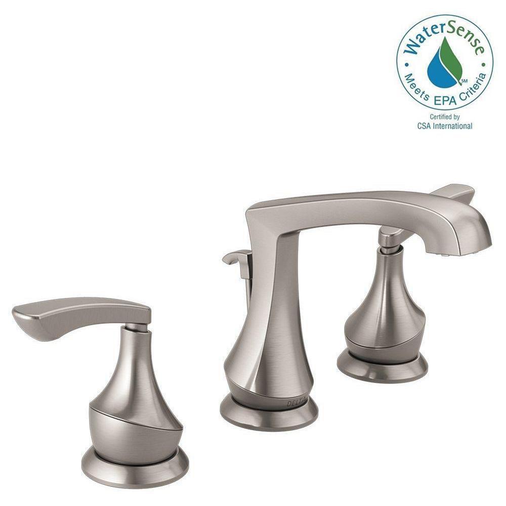 Merge 8 in. Widespread 2-Handle Bathroom Faucet in SpotShield Brushed Nickel