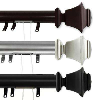 84 in. - 156 in. Bach Decorative Traverse Rod with Sliders in Black