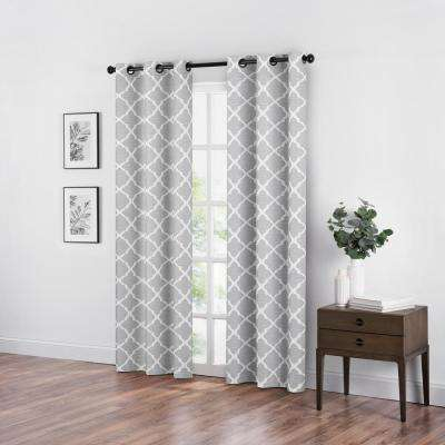Fret Grey Blackout Window Curtain - 42 in. W x 95 in. L