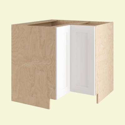 36x34.5x24 in. Elice Easy Reach Base Corner Cabinet with 2 Chrome Lazy Suzan Shelves and 2 Doors in Polar White