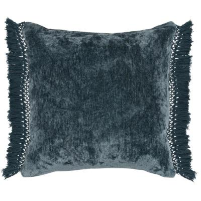 Melia 20 in. x 20 in. Square Solid Juniper Chenille Fringe Decorative Pillow