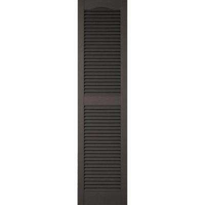 14-1/2 in. x 75 in. Lifetime Vinyl Standard Cathedral Top Center Mullion Open Louvered Shutters Pair Tuxedo Grey