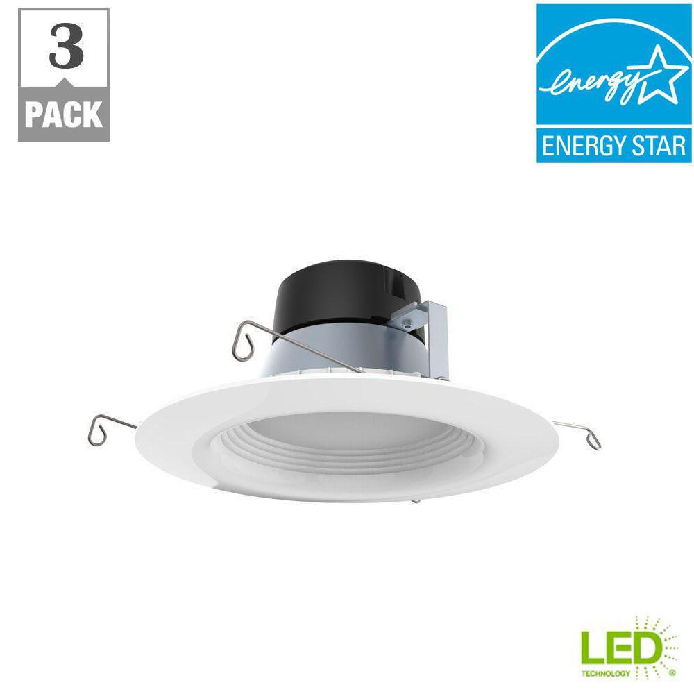 White Integrated Led Recessed Trim 3 Pack