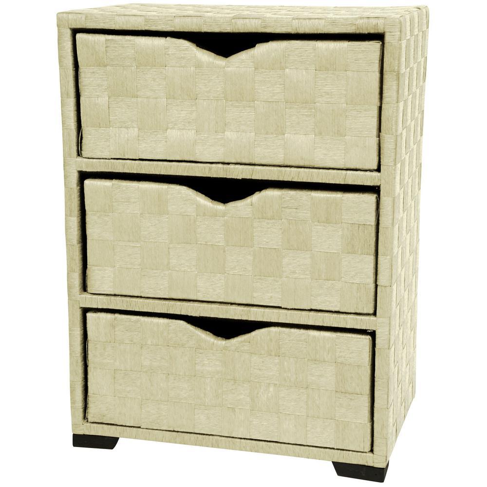 Oriental Furniture 3-Drawer White Natural Fiber Storage Chest JH09-101-3-WHT