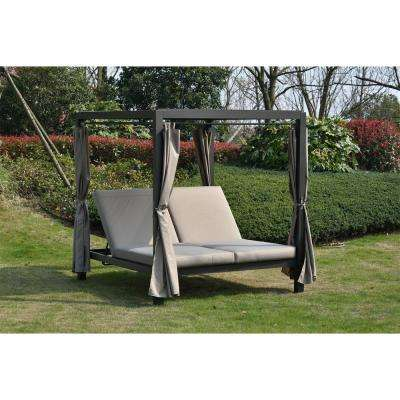 Heminger Outdoor Steel Metal Adjustable Day Bed with Canopy and Taupe Cushions