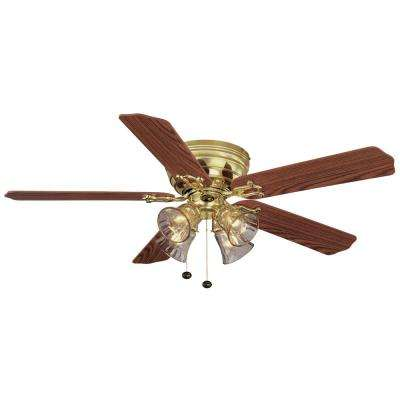 Carriage House 52 in. LED Polished Brass Ceiling Fan