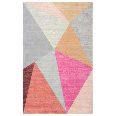 Pyramid Mid-Century Geometric Pink 5 ft. 6 in. x 8 ft. 6 in. Area Rug