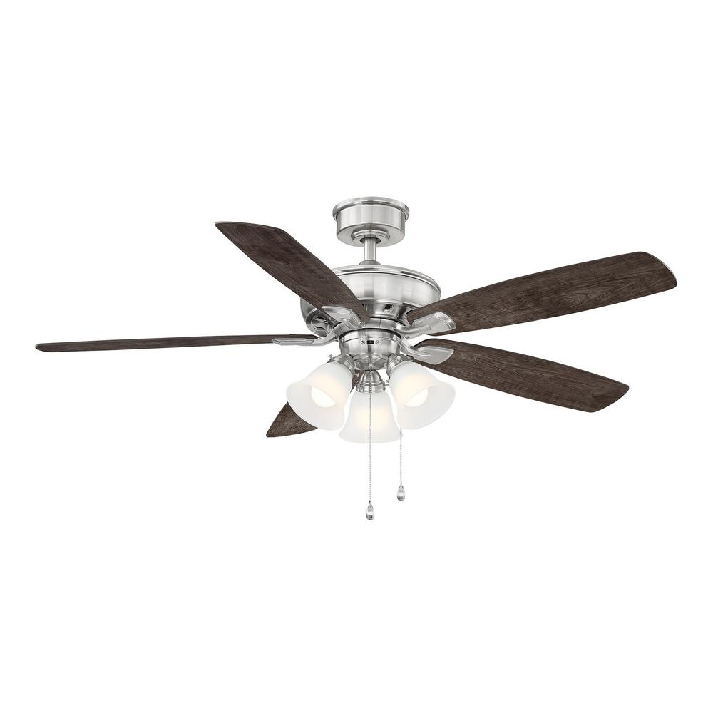 hampton bay Wellton 54 in LED Brushed Nickel DC Motor Ceiling Fan with Light