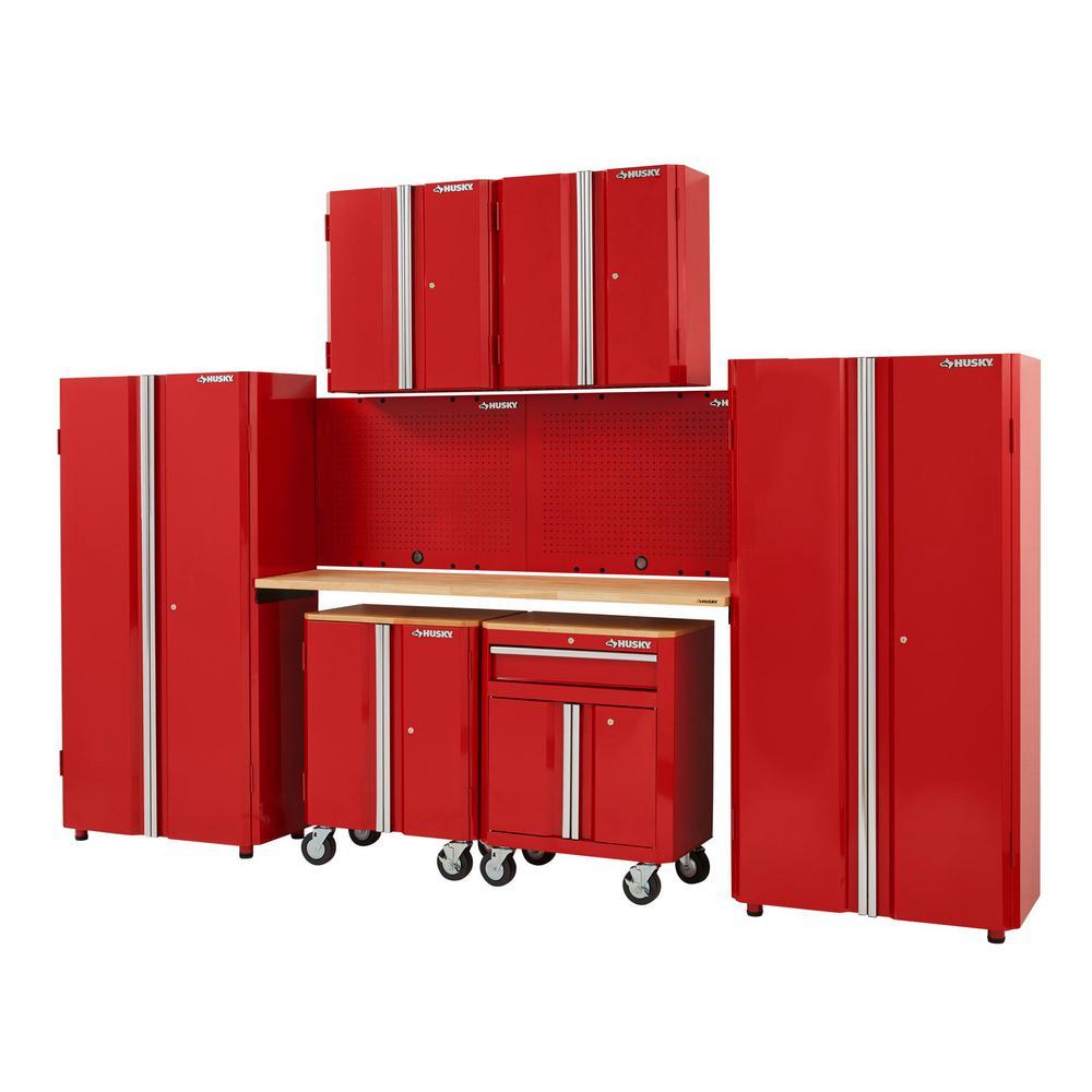 133 in. W x 98 in. H x 18 in. D Steel Garage Cabinet Set in Red (8-Piece)