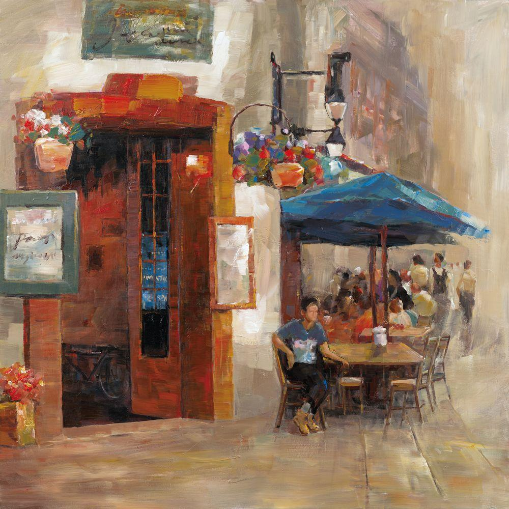"""Yosemite Home Decor 32 in. x 32 in. """"Outdoor Dining II"""" Hand Painted Contemporary Artwork"""