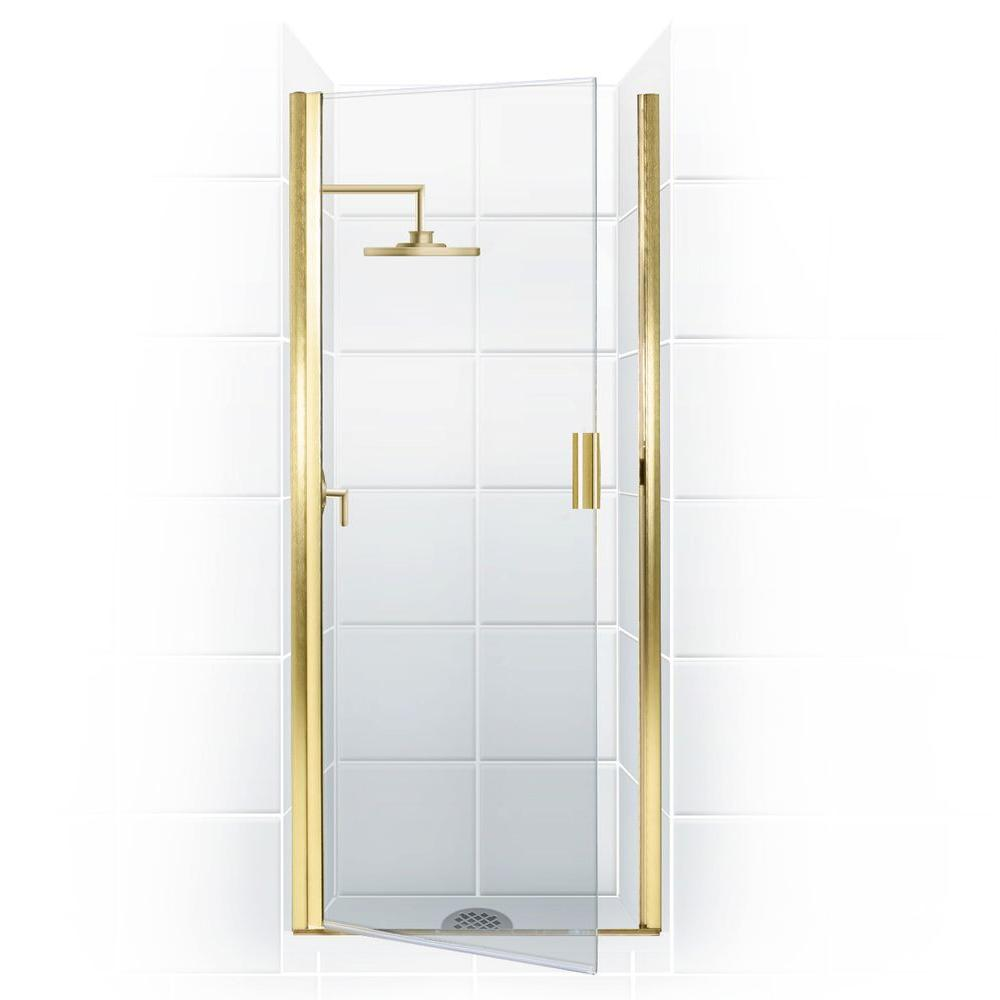 Coastal Shower Doors Paragon Series 27 in. x 74 in. Semi-Framed Continuous Hinge Shower Door in Gold with Clear Glass and Knock-On Handle